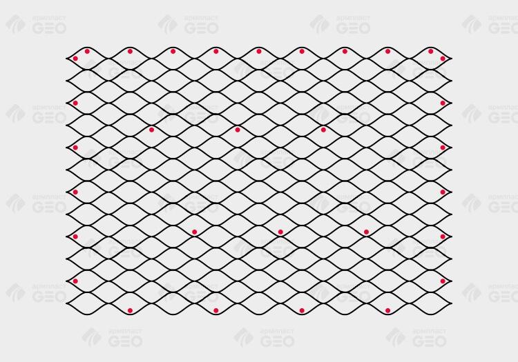 Схема монтажа объемной георешетки с помощью стеклопластикового анкера при укреплении откосов