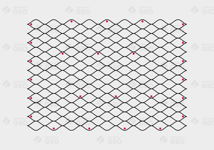 Схема монтажа объемной георешетки с помощью стеклопластикового анкера при горизонтальном растяжении